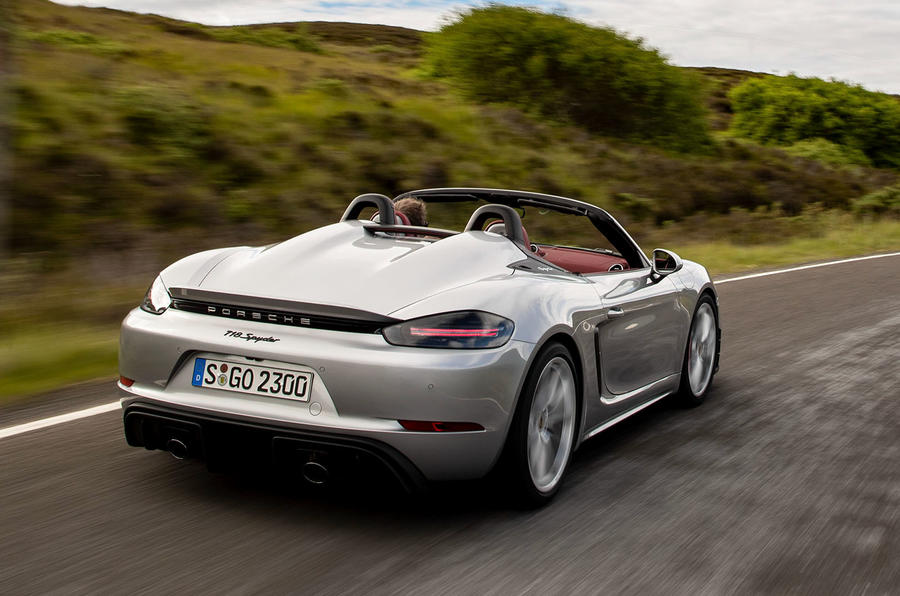 Porsche 718 Boxster Spyder 2019 first drive review - hero rear