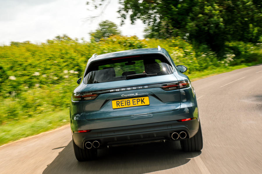 Porsche Cayenne 2018 UK first drive review hero rear