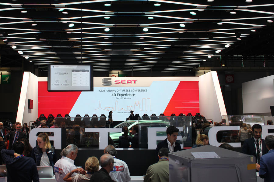 There is plenty of interest in SEAT's innovative Paris Motor Show stand