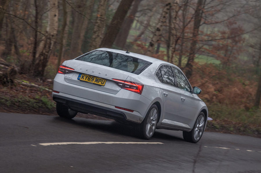 Skoda Superb IV 2020 UK first drive review - action rear