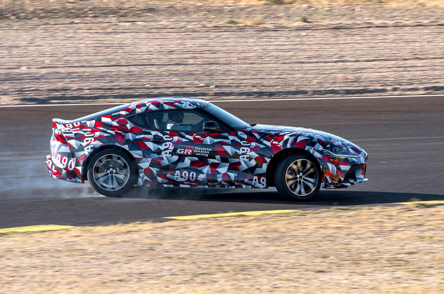 Toyota Supra 2019 prototype first drive review drift hero side