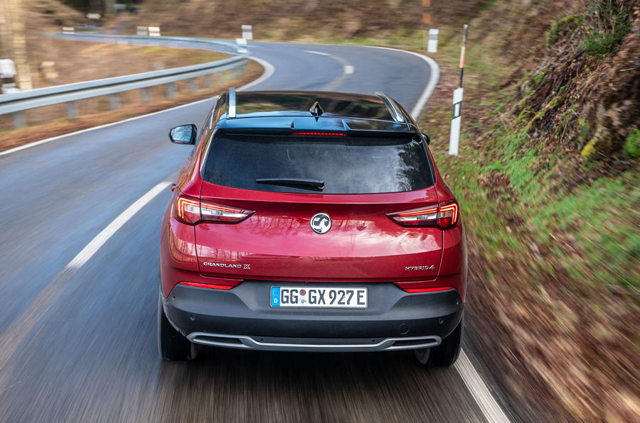 Vauxhall Grandland X Hybrid4 2020 first drive review - hero rear