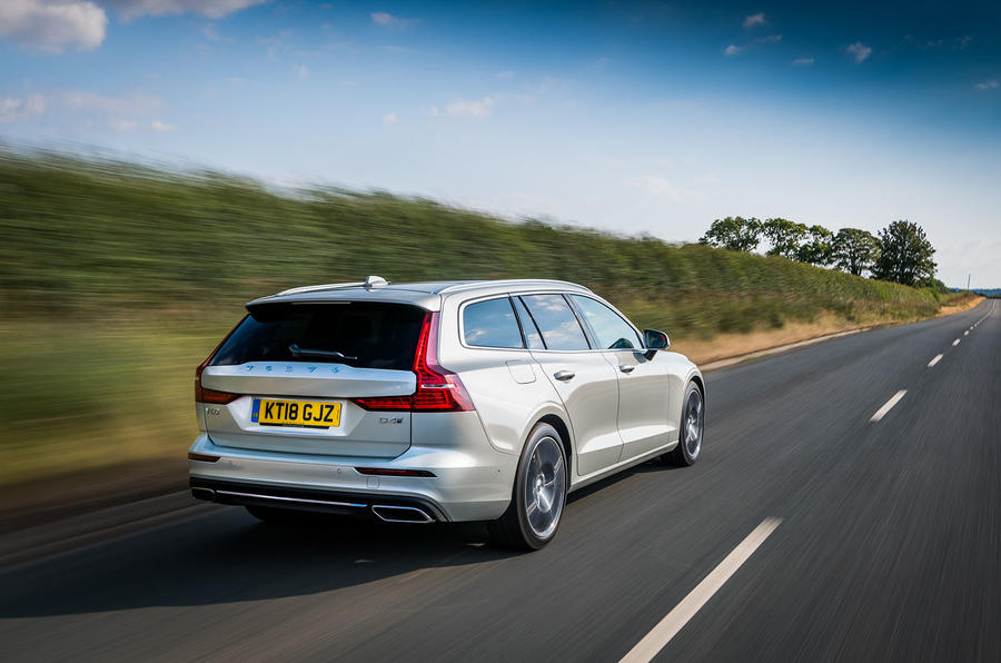 Volvo V60 D4 Inscription 2018 UK first drive review hero rear