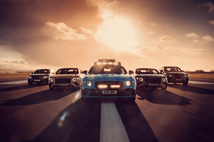 Bentleys on runway