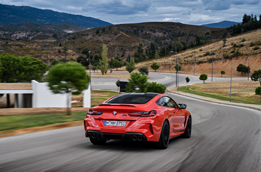 BMW M8 Competition Coupé 2019 first drive review - on the road rear