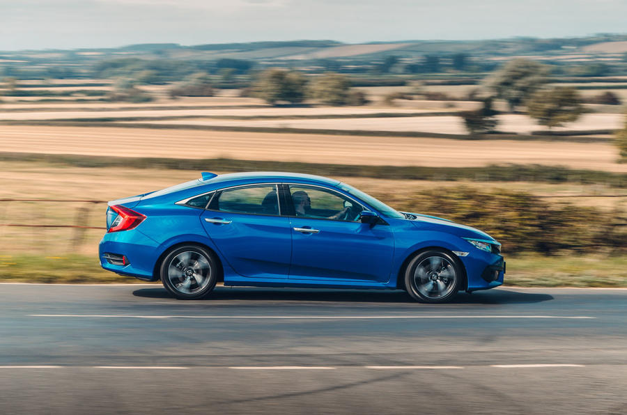 Honda Civic saloon 2018 UK first drive review on the road side