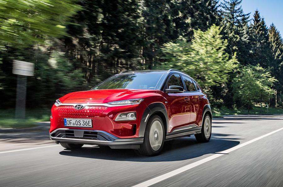 Hyundai Kona EV prototype drive 2018 on the road front