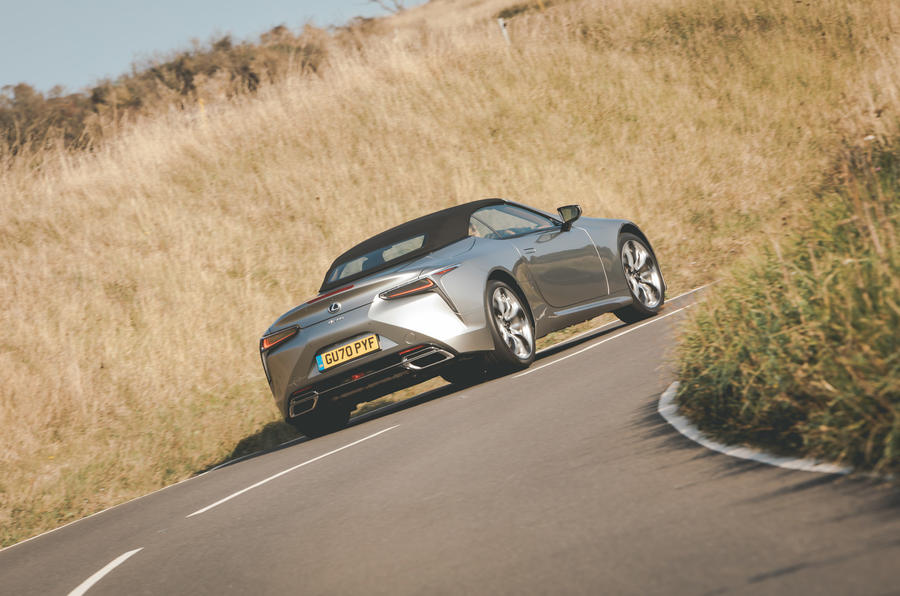 Lexus LC Convertible 2020 UK first drive review - on the road rear