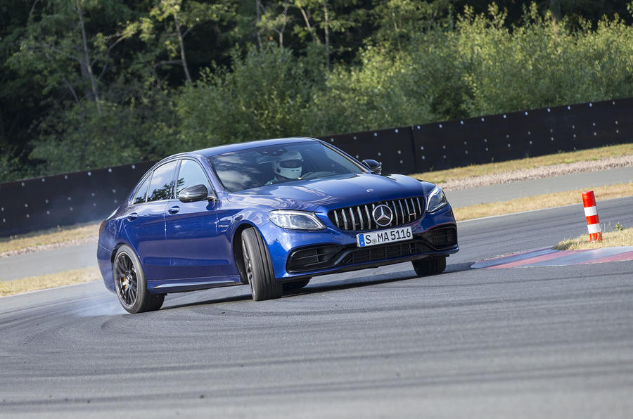 Mercedes-AMG C63 2018 first drive review drifting