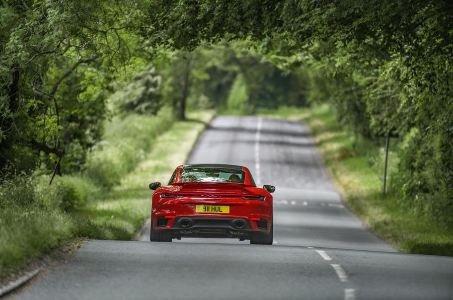 Porsche 911 Turbo S 2020 UK first drive review - on the road rear