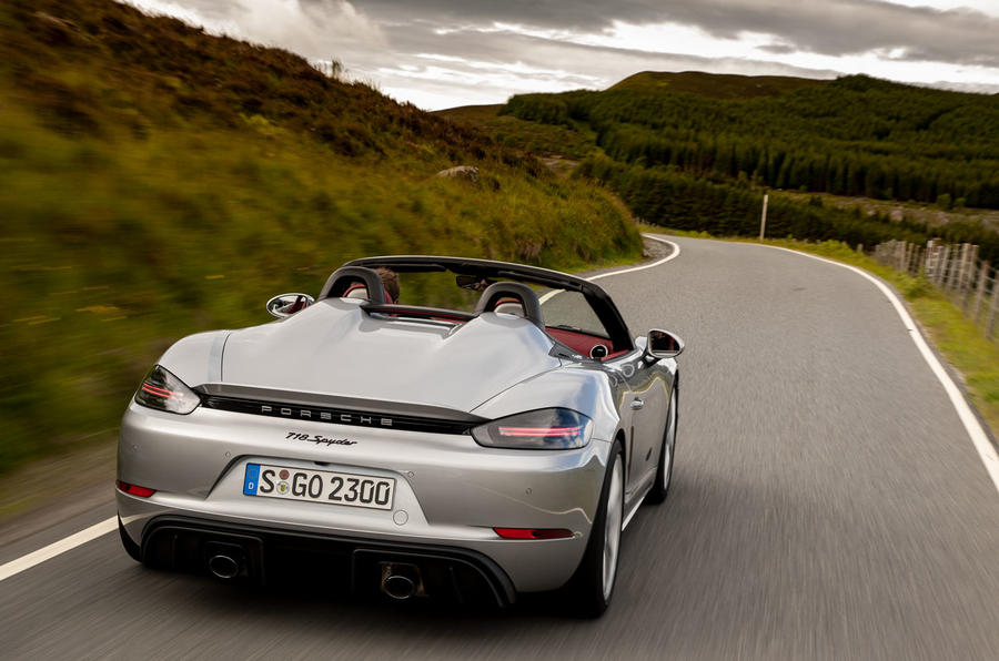 Porsche 718 Boxster Spyder 2019 first drive review - on the road rear