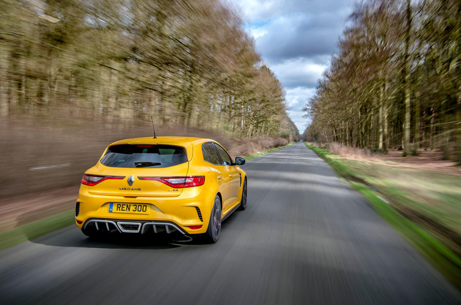 Renault Megane RS 300 Trophy 2019 UK first drive review - on the road rear