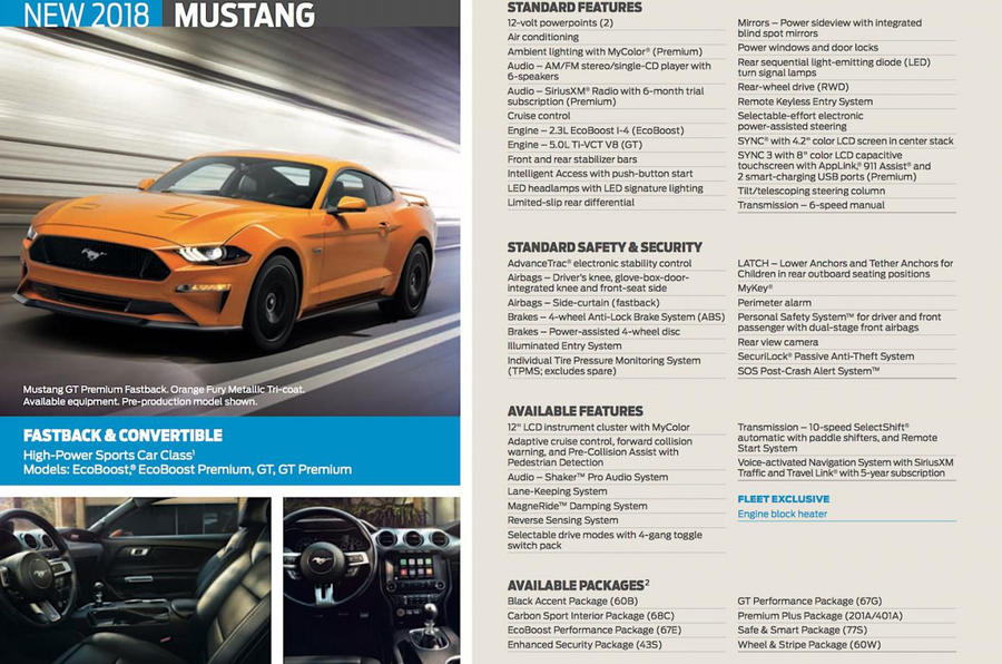 2018 Ford Mustang brochure