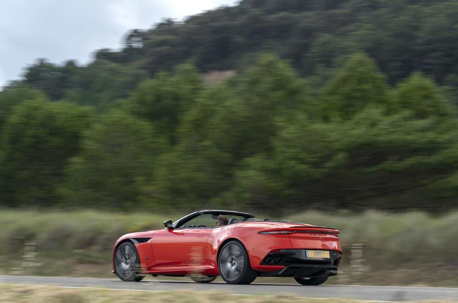 Aston Martin DBS Superleggera Volante 2019 first drive review - on the road rear