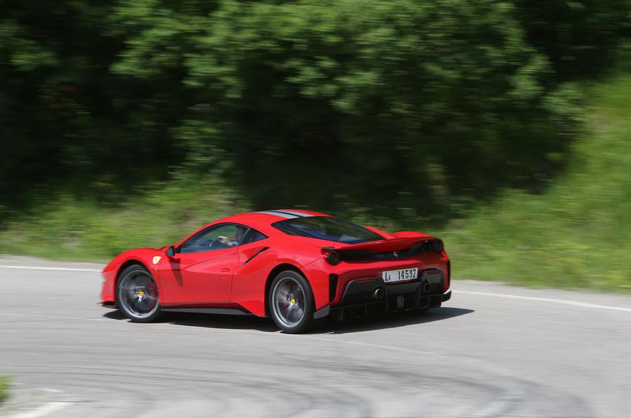 Ferrari 488 Pista 2018 review cornering rear