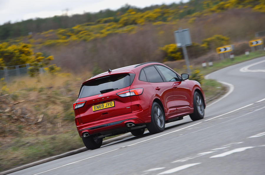 Ford Kuga ST-Line PHEV 2020 UK first drive review - on the road rear
