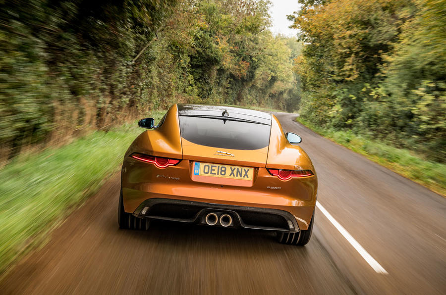 Jaguar F-Type MY2018 first drive review - on the road rear
