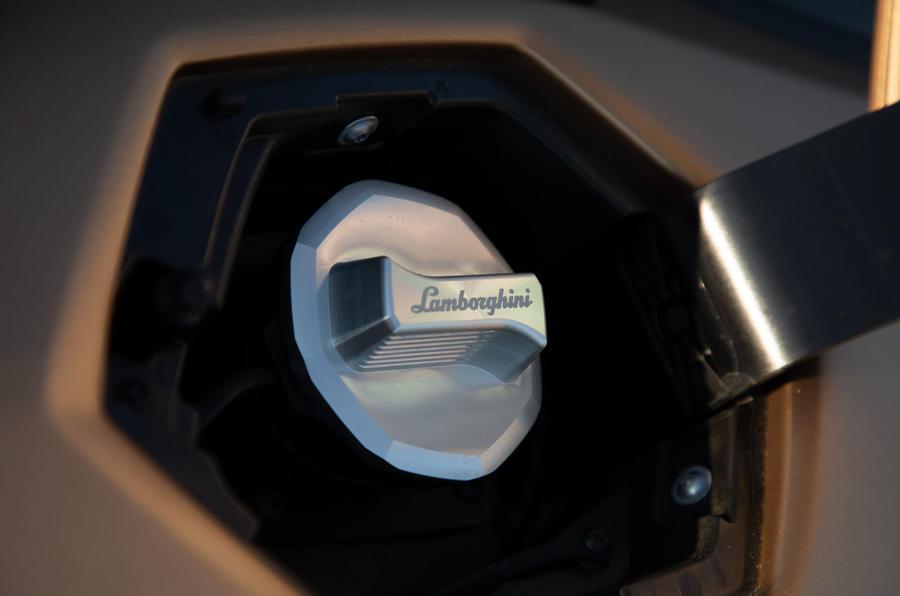 Lamborghini Aventador SVJ Roadster 2019 first drive review - fuel filler cap
