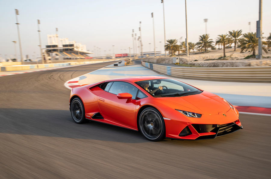 Lamborghini Huracan Evo 2019 first drive review - cornering front
