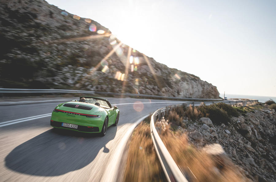 Porsche 911 Cabriolet 2019 first drive review - on the road rear