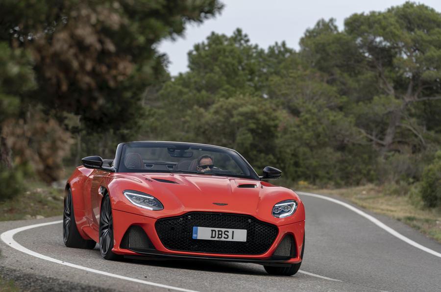 Aston Martin DBS Superleggera Volante 2019 first drive review - cornering front