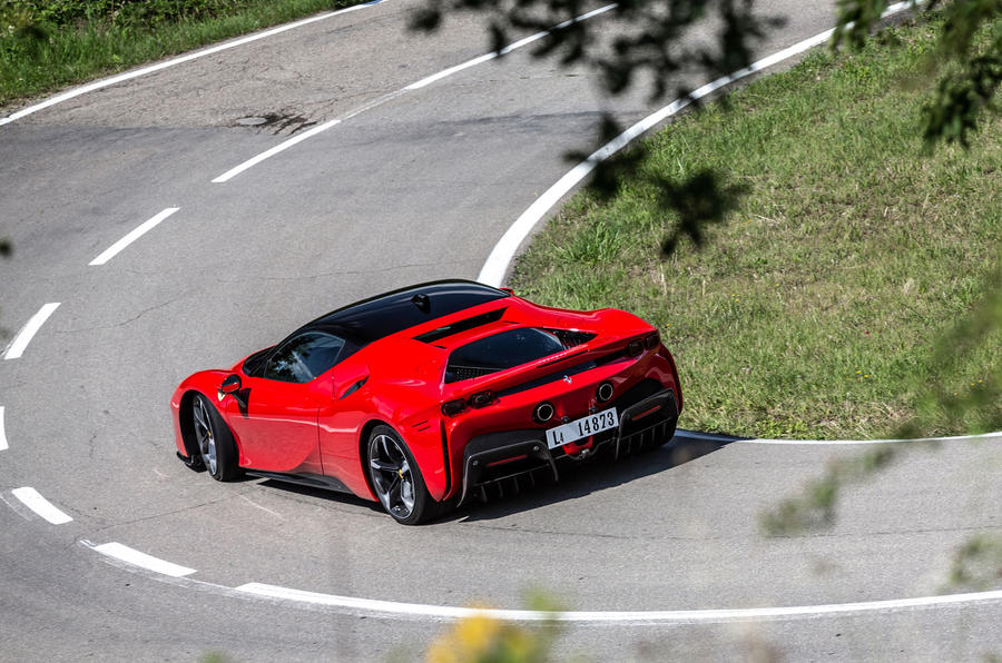 Ferrari SF90 Stradale 2020 first drive review - on the road rear