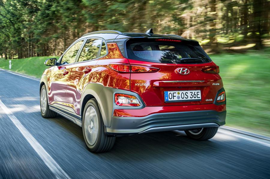 Hyundai Kona EV prototype drive 2018 on the road rear
