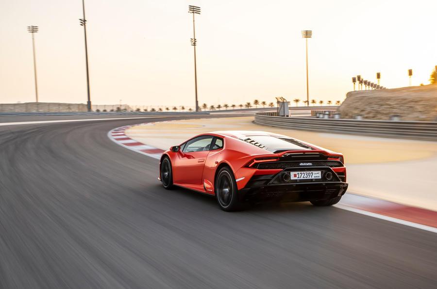 Lamborghini Huracan Evo 2019 first drive review - cornering rear