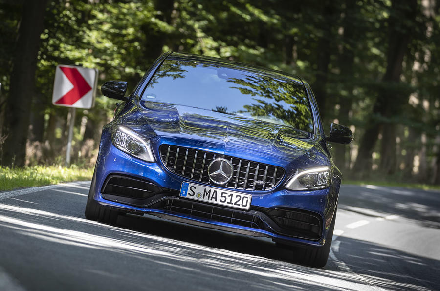 Mercedes-AMG C63 2018 first drive review cornering front