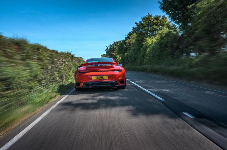 Porsche 911 Turbo S 2020 UK first drive review - tracking rear