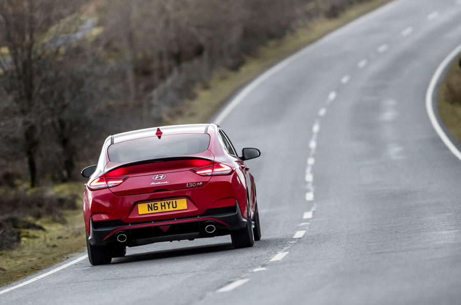 Hyundai i30 Fastback N 2019 UK first drive review - on the road rear