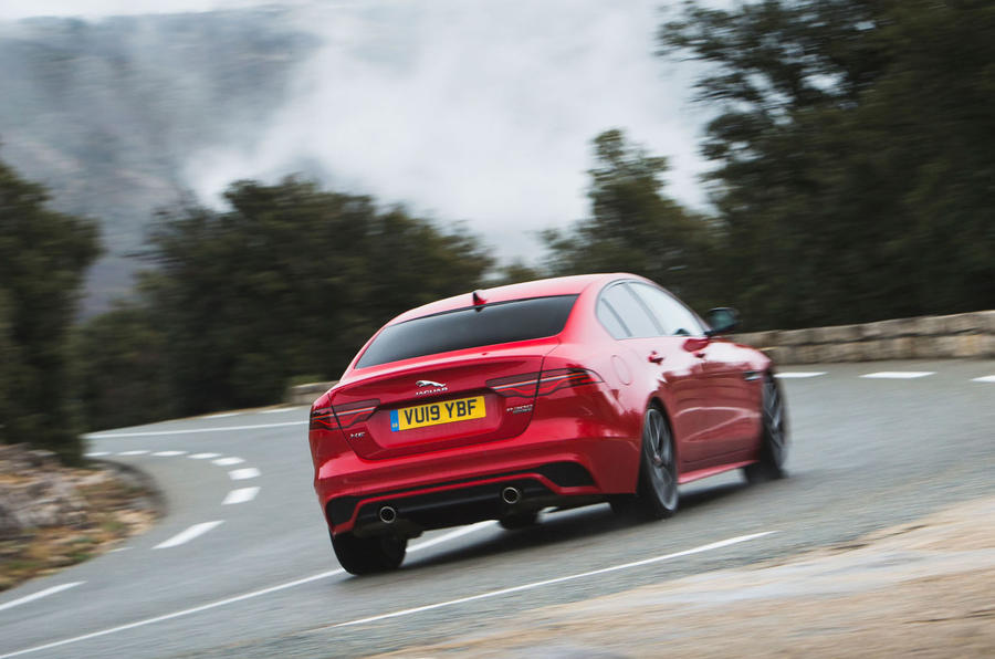 Jaguar XE P300 2019 first drive review - cornering rear