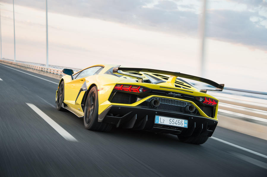 Lamborghini Aventador SVJ 2018 first drive review on the road rear