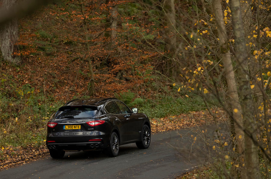 Maserati Levante GranSport V6 2018 first drive - on the road rear