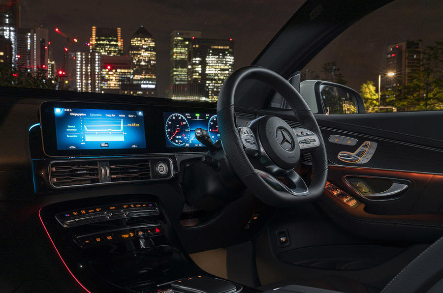 Mercedes-Benz EQC 400 2019 UK first drive review - interior at night