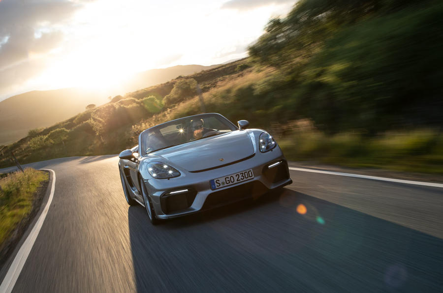 Porsche 718 Boxster Spyder 2019 first drive review - sunset front