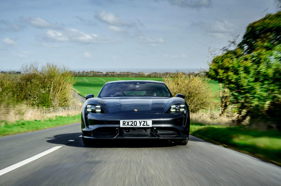 Porsche Taycan Turbo 2020 UK first drive review - on the road nose