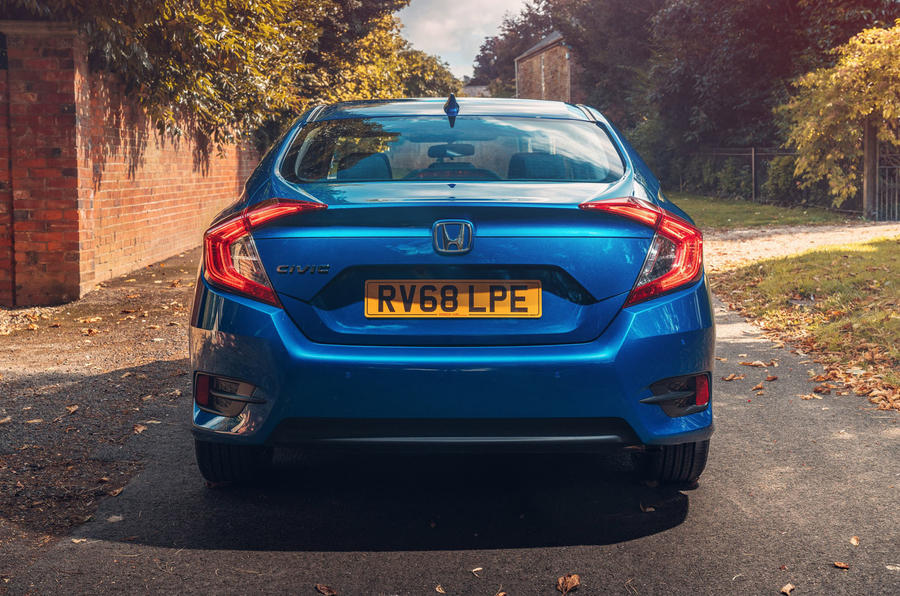Honda Civic saloon 2018 UK first drive review static rear end