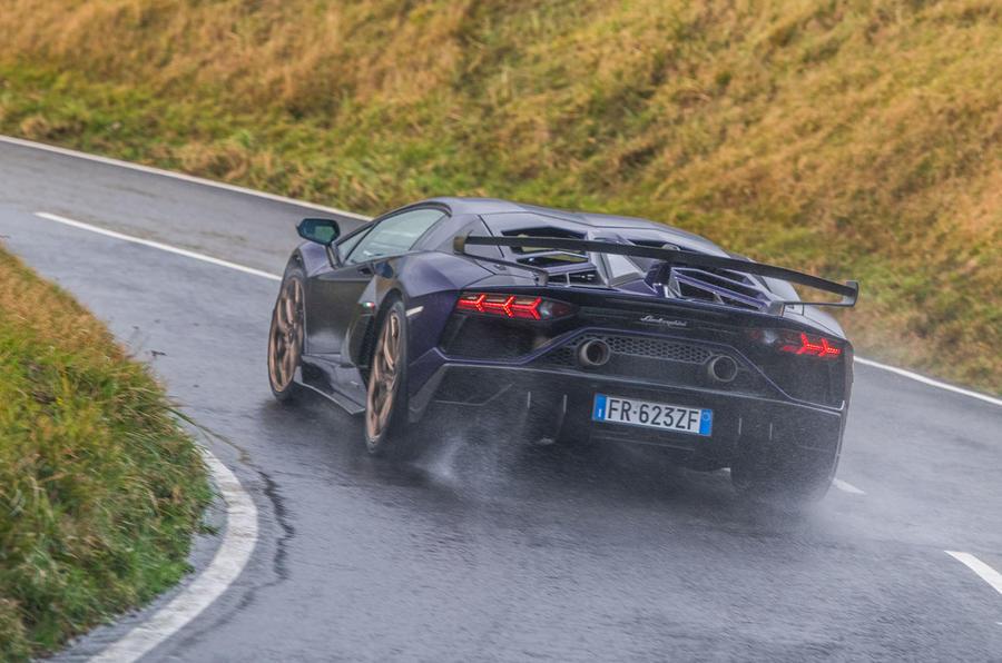 Lamborghini Aventador SVJ 2018 UK first drive review - cornering rear