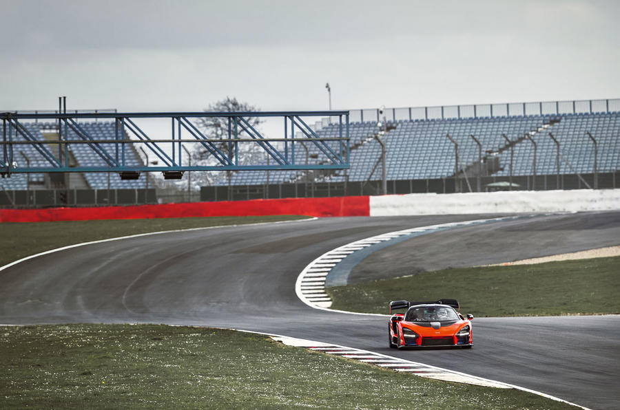 McLaren Senna 2018 UK first drive review track wide angle