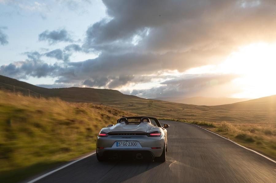 Porsche 718 Boxster Spyder 2019 first drive review - sunset rear