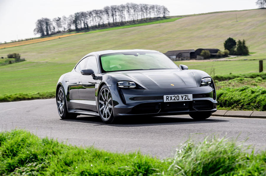 Porsche Taycan Turbo 2020 UK first drive review - cornering front