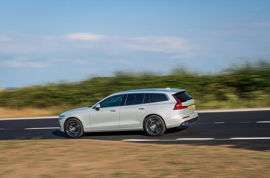 Volvo V60 D4 Inscription 2018 UK first drive review on the road left