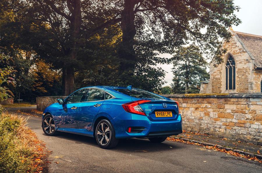 Honda Civic saloon 2018 UK first drive review static rear