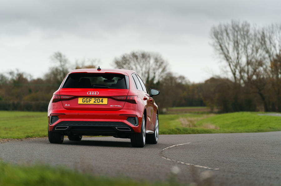 Audi A3 TFSIe 2020 UK first drive review - cornering rear