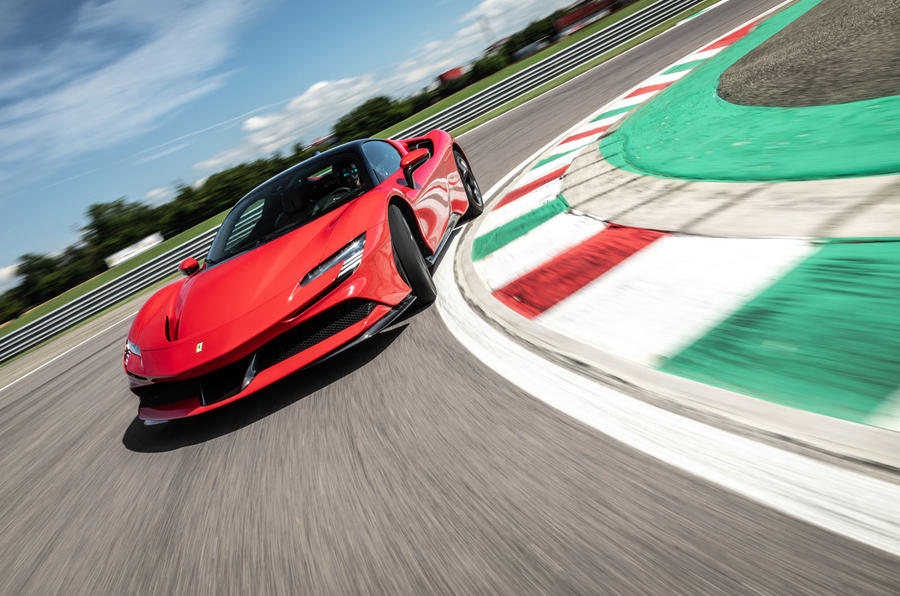 Ferrari SF90 Stradale 2020 first drive review - track cornering front