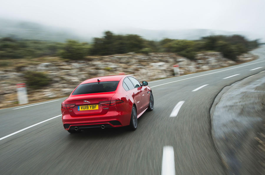 Jaguar XE P300 2019 first drive review - on the road rear