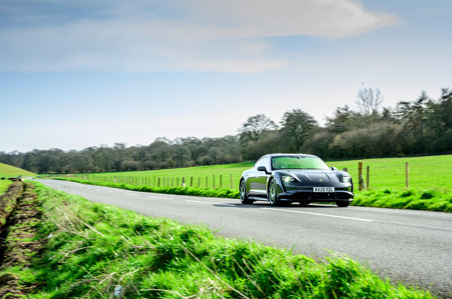 Porsche Taycan Turbo 2020 UK first drive review - roads front
