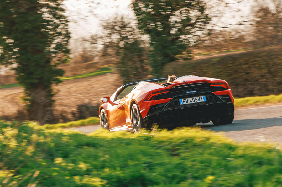 Lamborghini Huracán Spyder 2020 UK first drive review - on the road rear