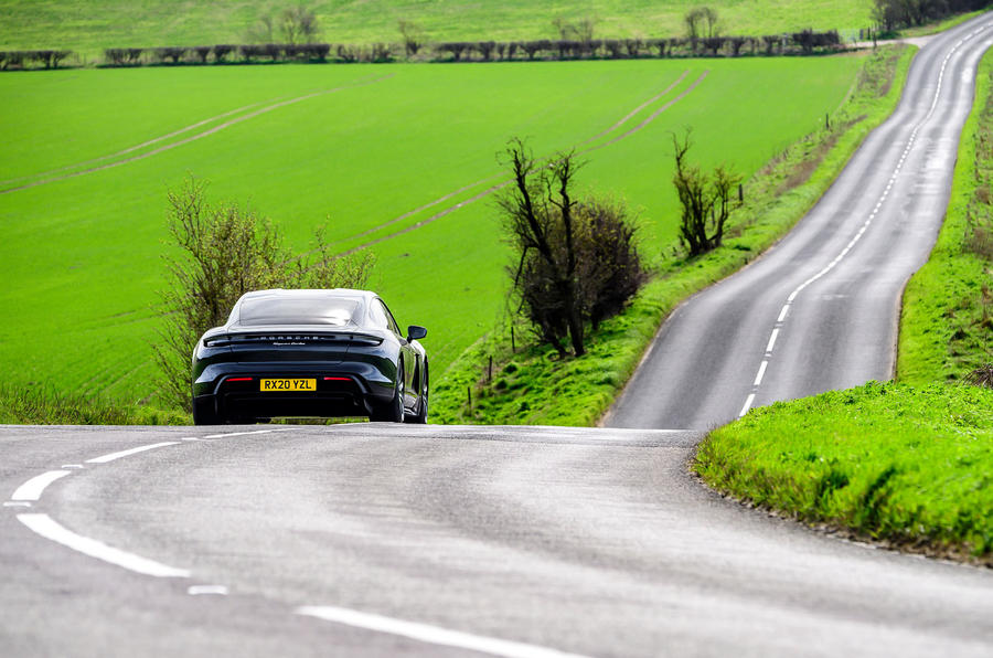 Porsche Taycan Turbo 2020 UK first drive review - roads rear